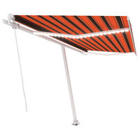 vidaXL Ručně zatahovací markýza s LED světlem 400x300 cm oranžovohnědá