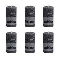 Bolsius Rustikální válcová svíčka 130 x 68 mm antracitová 6 ks