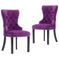 vidaXL Jídelní židle 2 ks fialové samet