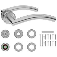 vidaXL Curved Door Handle Set with WC Lock Stainless Steel