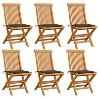 vidaXL Zahradní židle s taupe poduškami 6 ks masivní teak