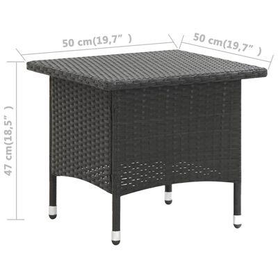vidaXL Čajový stolek černý 50 x 50 x 47 cm polyratan