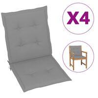 vidaXL Polstry na zahradní židle 4 ks šedé 100 x 50 x 4 cm