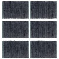 vidaXL Prostírání 6 ks chindi antracitové 30 x 45 cm bavlna