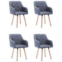 vidaXL Jídelní židle 4 ks světle šedé textil