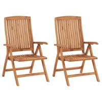 vidaXL Polohovací zahradní židle 2 ks masivní teakové dřevo