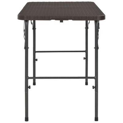 vidaXL Skládací zahradní stůl hnědý 120x60x74 cm HDPE ratanový vzhled