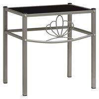 vidaXL Noční stolek šedý a černý 42,5 x 33 x 44,5 cm kov a sklo