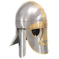 vidaXL Středověká přilba pro LARPy replika stříbro ocel