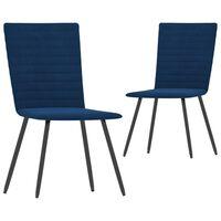 vidaXL Jídelní židle 2 ks modré samet
