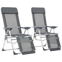 vidaXL Skládací kempingové židle s podnožkou hliníkové 2 kusy šedé