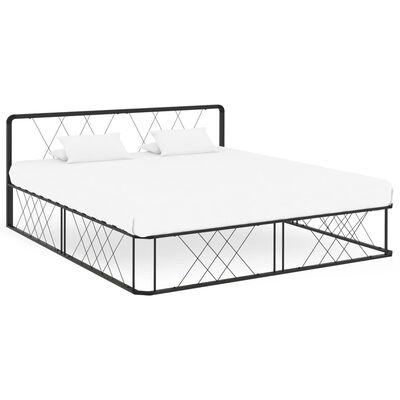 vidaXL Rám postele černý kov 200 x 200 cm