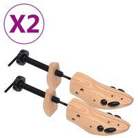vidaXL Napínáky do bot 2 páry velikost 41–46 masivní borové dřevo