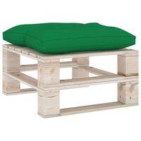 vidaXL Zahradní taburet z palet se zelenou poduškou borové dřevo