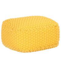 vidaXL Ručně pletený sedací puf hořčicově žlutý 50 x 50 x 30 cm bavlna