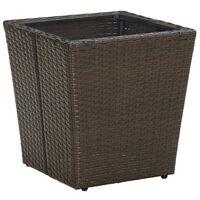 vidaXL Čajový stolek hnědý 41,5x41,5x44 cm polyratan a tvrzené sklo