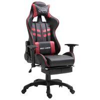 vidaXL Herní židle s podnožkou vínová umělá kůže
