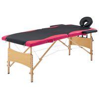 vidaXL Skládací masážní stůl 2 zóny dřevěný černý a růžový