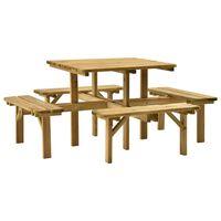 vidaXL 4stranný piknikový stůl 172 x 172 x 73 cm impregnovaná borovice