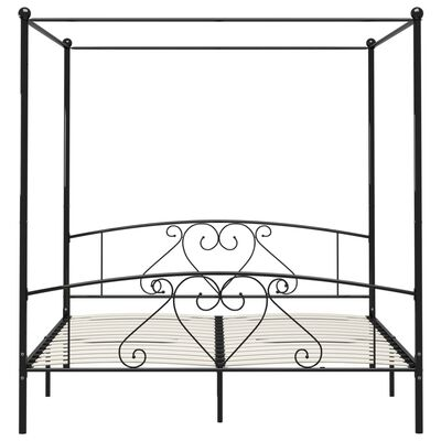 vidaXL Rám postele s nebesy černý kovový 200 x 200 cm