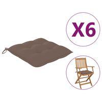 vidaXL Podušky na židle 6 ks taupe 40 x 40 x 7 cm textil