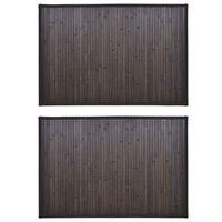vidaXL Bambusové koupelnové předložky 2 ks 60 x 90 cm tmavě hnědé