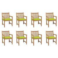 vidaXL Zahradní židle 8 ks jasně zelené podušky masivní teak