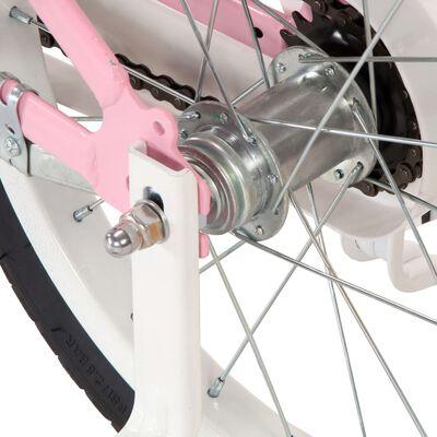 vidaXL Dětské kolo s předním nosičem 12'' bílo-růžové