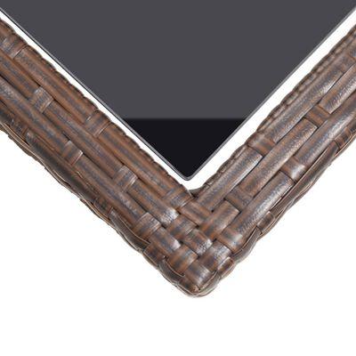 vidaXL Zahradní stůl hnědý 110 x 53 x 72 cm sklo a polyratan