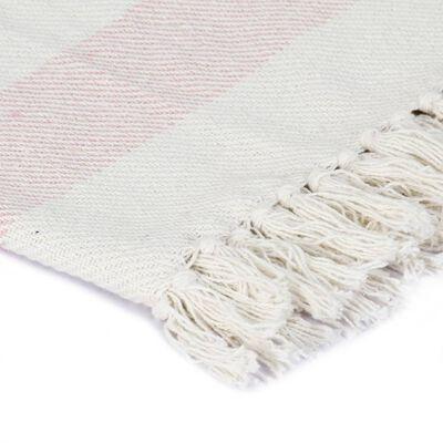 vidaXL Přehoz bavlna pruhovaný 220 x 250 cm stará růžová