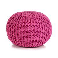 vidaXL Ručně pletený bavlněný taburet 50 x 35 cm růžový