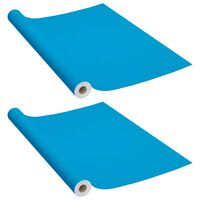 vidaXL Samolepící tapety na nábytek 2 ks azurové 500 x 90 cm PVC