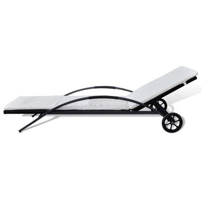 vidaXL Zahradní lehátko s poduškou a kolečky polyratan černé, Černý