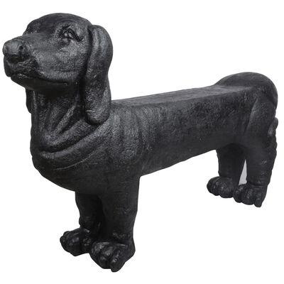 Esschert Design kamenná zahradní lavice tvar jezevčík, černá AV12