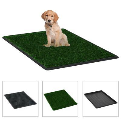 vidaXL Toaleta pro psy 2 ks s nádobou a umělou trávou zelené 76x51x3cm