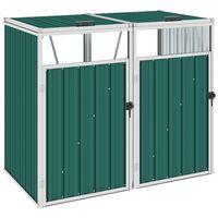 vidaXL Dvojitý přístřešek na popelnice zelený 143 x 81 x 121 cm ocel