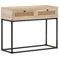 vidaXL Konzolový stolek 100x35x76cm masivní mangovník a přírodní rákos
