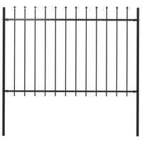vidaXL Zahradní plot s hroty ocelový 1,7 x 1,2 m černý