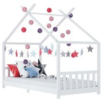 vidaXL Kids Bed Frame White Solid Pine Wood 70x140 cm