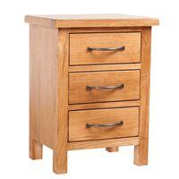 Noční stolek se 3 zásuvkami 40 x 30 x 54 cm masivní dubové dřevo