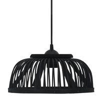 vidaXL Závěsné svítidlo černé bambus 37 x 15,5 cm 40 W půlkruh E27