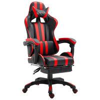 vidaXL Herní židle s podnožkou červená umělá kůže
