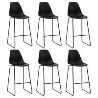 vidaXL Barové židle 6 ks černé plast