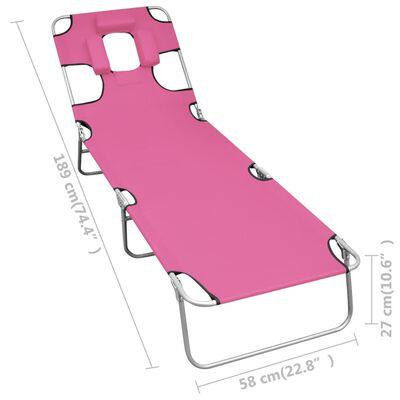 vidaXL Skládací opalovací lehátko s podhlavníkem ocel fuchsiově růžové