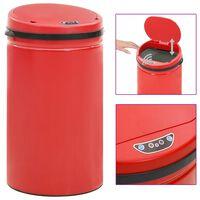 vidaXL Odpadkový koš s automatickým senzorem 50l uhlíková ocel červený