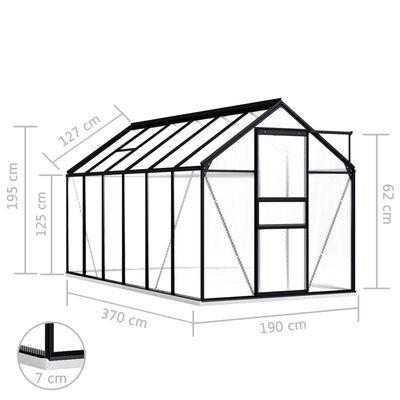 vidaXL Skleník s podkladovým rámem antracitový hliník 7,03 m²