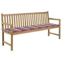 vidaXL Zahradní lavice červená károvaná poduška 175 cm masivní teak
