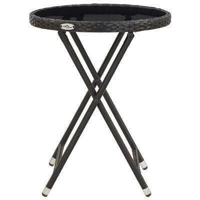 vidaXL Čajový stolek černý 60 cm polyratan a tvrzené sklo