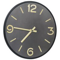 321475 vidaXL Wall Clock Anthracite and Gold 31,5 cm Iron and MDF