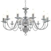 vidaXL Lustr stříbrný 12 x žárovky E14